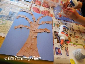 Tree of Torn Paper and Cupcake Liner Halloween Ghost Tree