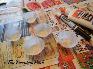 Mini Cupcake Liners for Torn Paper and Cupcake Liner Halloween Ghost Tree