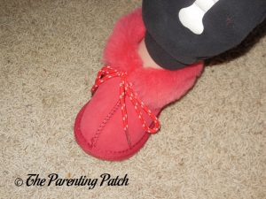 Toddler Wearing Cool Beans Red Sheepskin Winter Slipper Boots 4