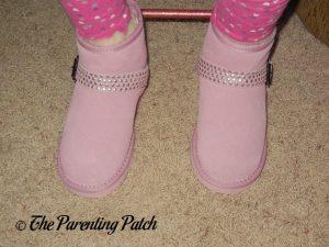 Kindergartener Wearing Cool Beans Pink Sheepskin Winter Boots 1