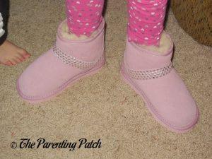 Kindergartener Wearing Cool Beans Pink Sheepskin Winter Boots 2