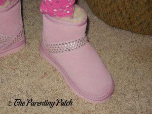 Kindergartener Wearing Cool Beans Pink Sheepskin Winter Boots 4