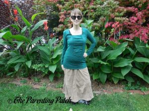 Heather Wearing Square-Neck Long-Sleeve Pleated Tunic Top