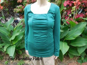 Front of Square-Neck Long-Sleeve Pleated Tunic Top