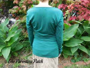 Back of Square-Neck Long-Sleeve Pleated Tunic Top