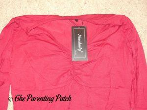 Neckline of V-Neck Long-Sleeve High-Waist Pleated Tunic Top