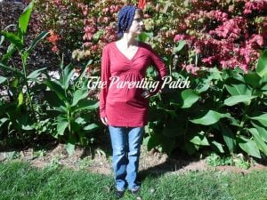 Heather Wearing V-Neck Long-Sleeve High-Waist Pleated Tunic Top