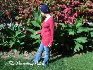 Heather Wearing V-Neck Long-Sleeve High-Waist Pleated Tunic Top