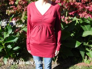 Front of V-Neck Long-Sleeve High-Waist Pleated Tunic Top
