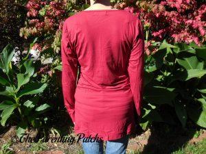 Back of V-Neck Long-Sleeve High-Waist Pleated Tunic Top