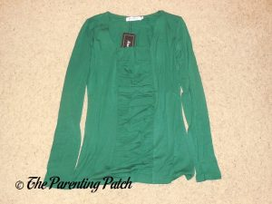 Square-Neck Long-Sleeve Pleated Tunic Top