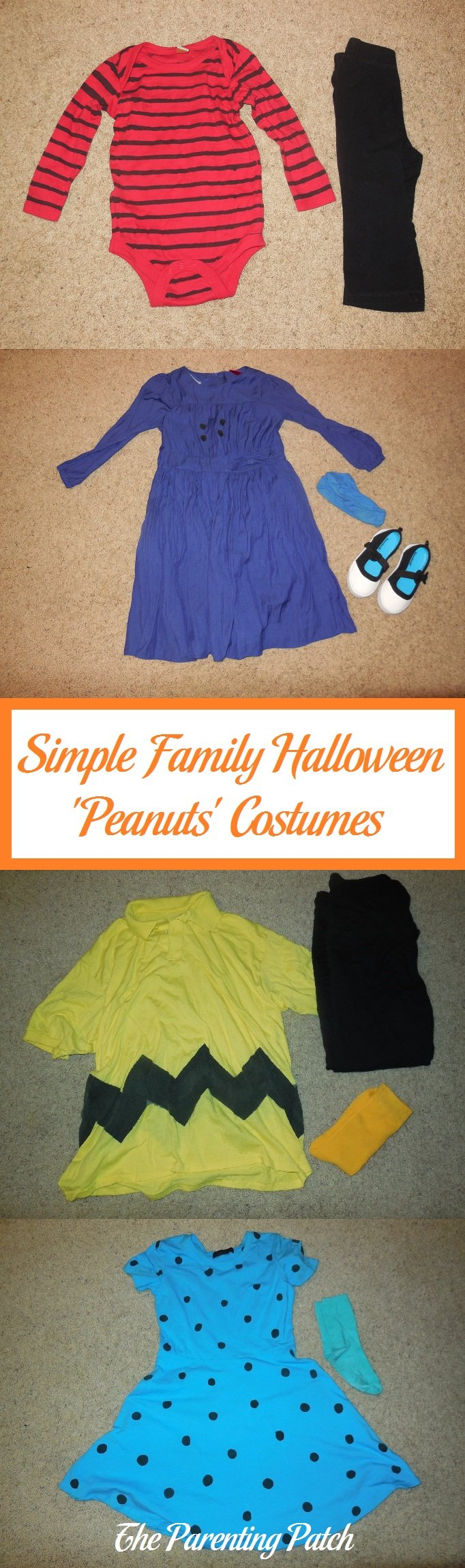 Simple Family Halloween 'Peanuts' Costumes