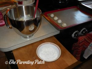 Rolling Dough Balls for Christmas Sprinkle Cake Cookies