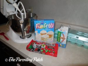 Ingredients for Christmas M&M's Funfetti Cake Cookies