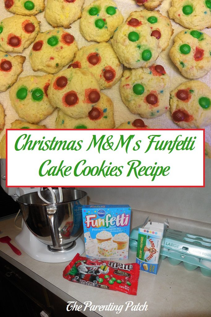Christmas M&M's Funfetti Cake Cookies Recipe