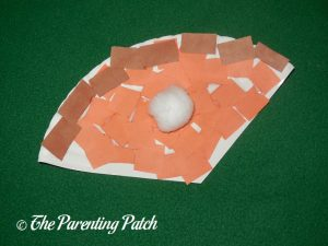 Finished Pumpkin Pie Paper Plate Craft by Kindergartener