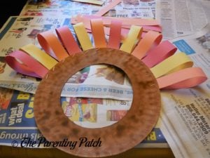 Tail Feathers on the Turkey Paper Plate Wreath Craft