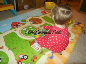 Kindergartener Playing on Baby Care Large Busy Farm Foam Play Mat 1