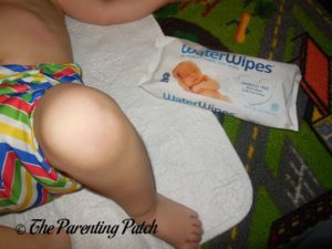 WaterWipes Package During Diaper Change