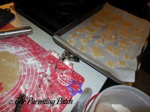 Rolling and Cutting the Rolled Almond Vanilla Cookies