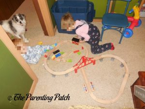 Playing with the Wooden Toy Train Set from Cubbie Lee Toy Company 4