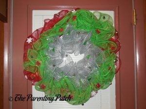 Finished Deco Mesh Christmas Wreath Craft
