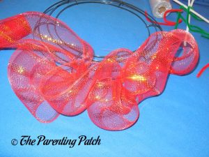 Red Loops of Deco Mesh Christmas Wreath Craft