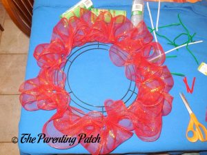 Red Deco Mesh Loops of Deco Mesh Christmas Wreath Craft