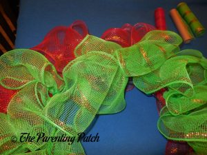 Red and Green on Deco Mesh Christmas Wreath Craft