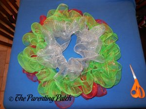 Red, Green, and Silver on Deco Mesh Christmas Wreath Craft
