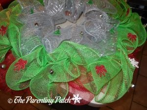 Decorating the Deco Mesh Christmas Wreath Craft
