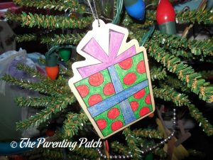 Colored Wood Present Ornament