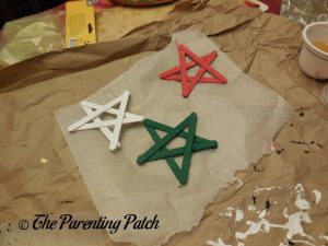 Red, White, and Green Craft Stick Stars