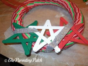 Adding Silver Glitter Ribbon to the Duct Tape Christmas Wreath Craft