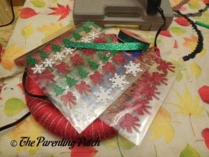 Glitter Stickers for Christmas Ribbon and Yarn Wreath Craft