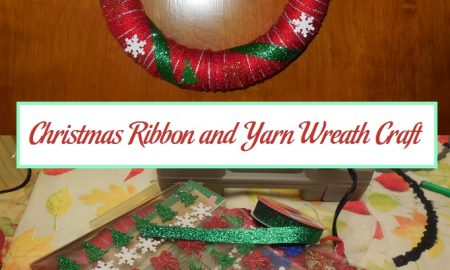 Christmas Ribbon and Yarn Wreath Craft