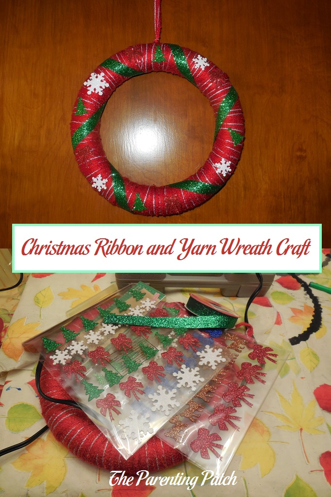 christmas ribbon and yarn wreath craft parenting patch