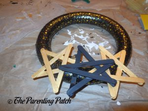 Gluing the Stars to the Washi Tape New Year's Wreath Craft 2