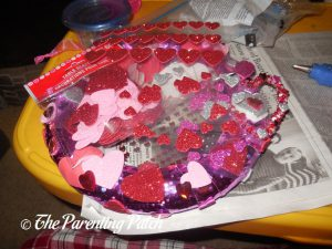 Decorating the Duct Tape Valentine's Day Wreath Craft