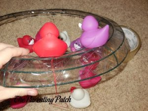 Attaching the Valentine's Day Ducks to the Wire Wreath