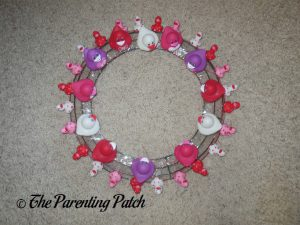 Large and Small Valentine's Day Ducks on Wire Wreath