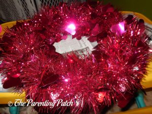 Gluing the Garland to the Valentine's Day Duck-oration Wreath