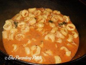 Finished Rotisserie Chicken Tortellini Soup