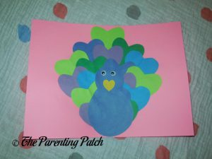 Finished Heart Peacock Valentine's Day Craft