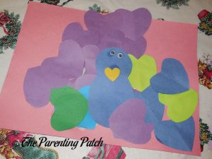Finishing the Heart Peacock Valentine's Day Craft