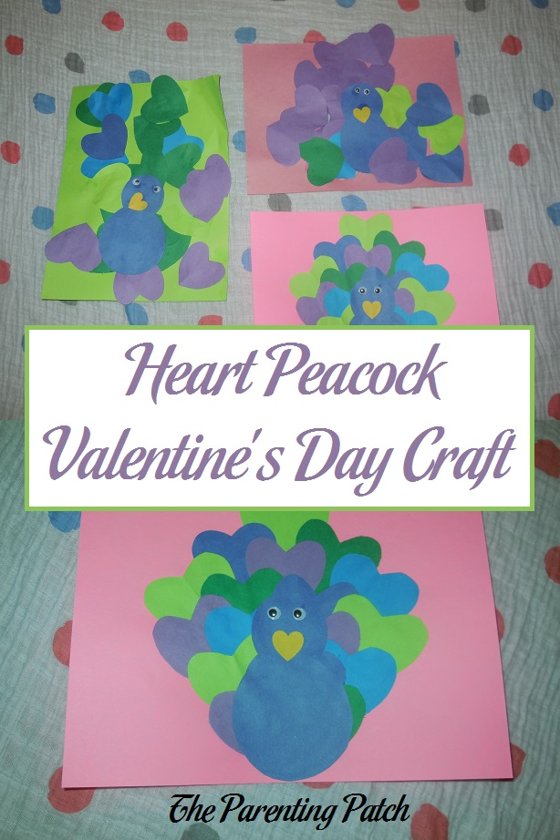 Heart Peacock Valentine's Day Craft