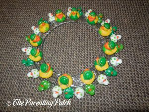 Large and Small St. Patrick's Day Ducks on Wire Wreath