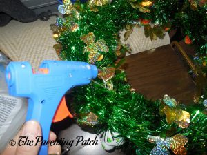 Gluing the Garland to the St. Patrick's Day Duck-oration Wreath