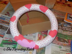 Decorating the Washi Tape Valentine's Day Wreath Craft