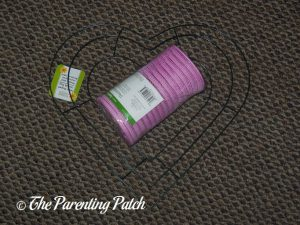 Materials for Deco Mesh Valentine's Day Wreath Craft